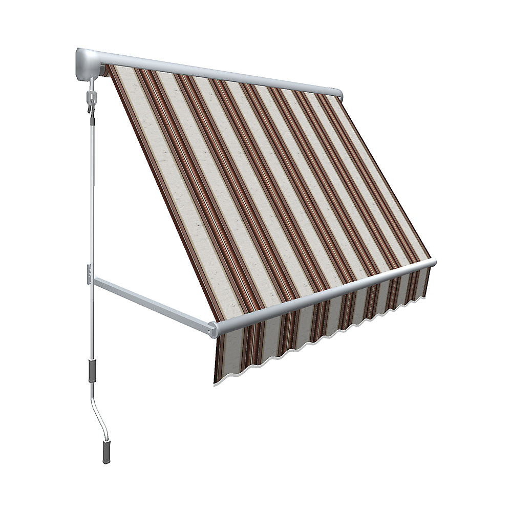 5 Feet Mesa Window Retractable Awning 24 Height X 24 Projection Brownterra Cotta Multi Stripe