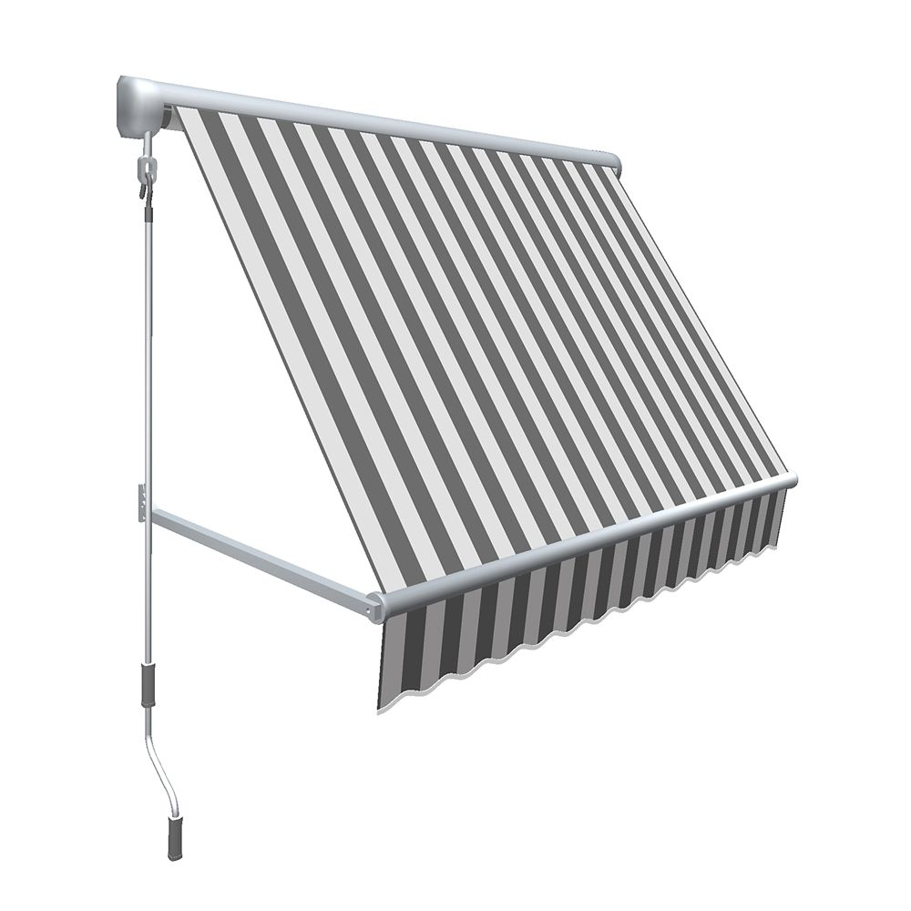 """8 Feet MESA Window Retractable Awning 24"""" height x 24"""" projection - Gray/White Stripe"""