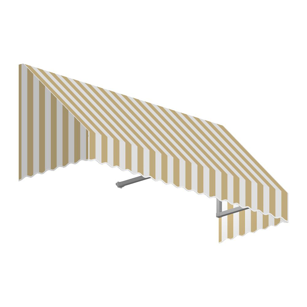 4 Feet Ottawa (44 Inch H X 36 Inch D) Window / Entry Awning Tan / White Stripe