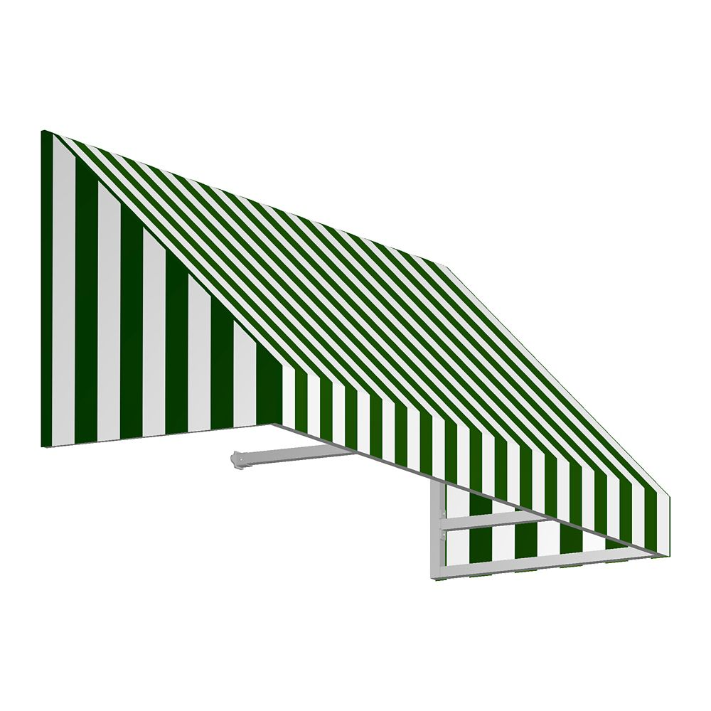 8 Feet Toronto (44 Inch H X 36 Inch D) Window / Entry Awning Forest / White Stripe