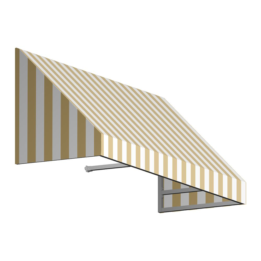 8 Feet Toronto (44 Inch H X 36 Inch D) Window / Entry Awning Tan / White Stripe