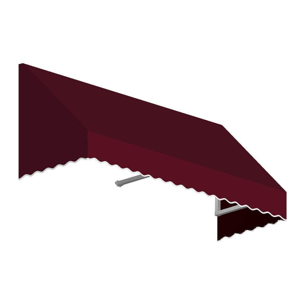 5 Feet Ottawa (18 Inch H X 36 Inch D) Low Eaves / Window / Entry Awning Burgundy
