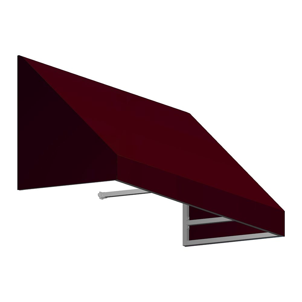 4 Feet Toronto (18 Inch H X 36 Inch D) Low Eaves / Window / Entry Awning Burgundy