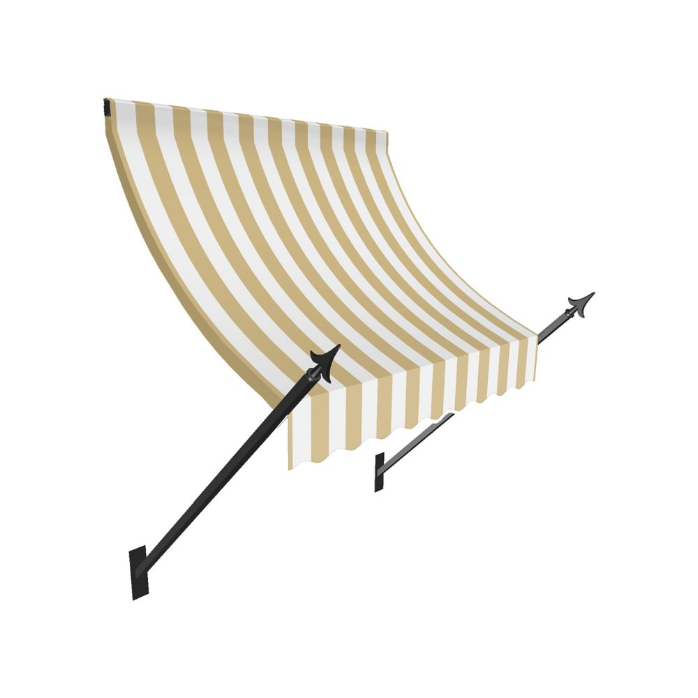 4 Feet New Orleans (44 Inch H X 24 Inch D) Window / Entry Awning Tan / White Stripe