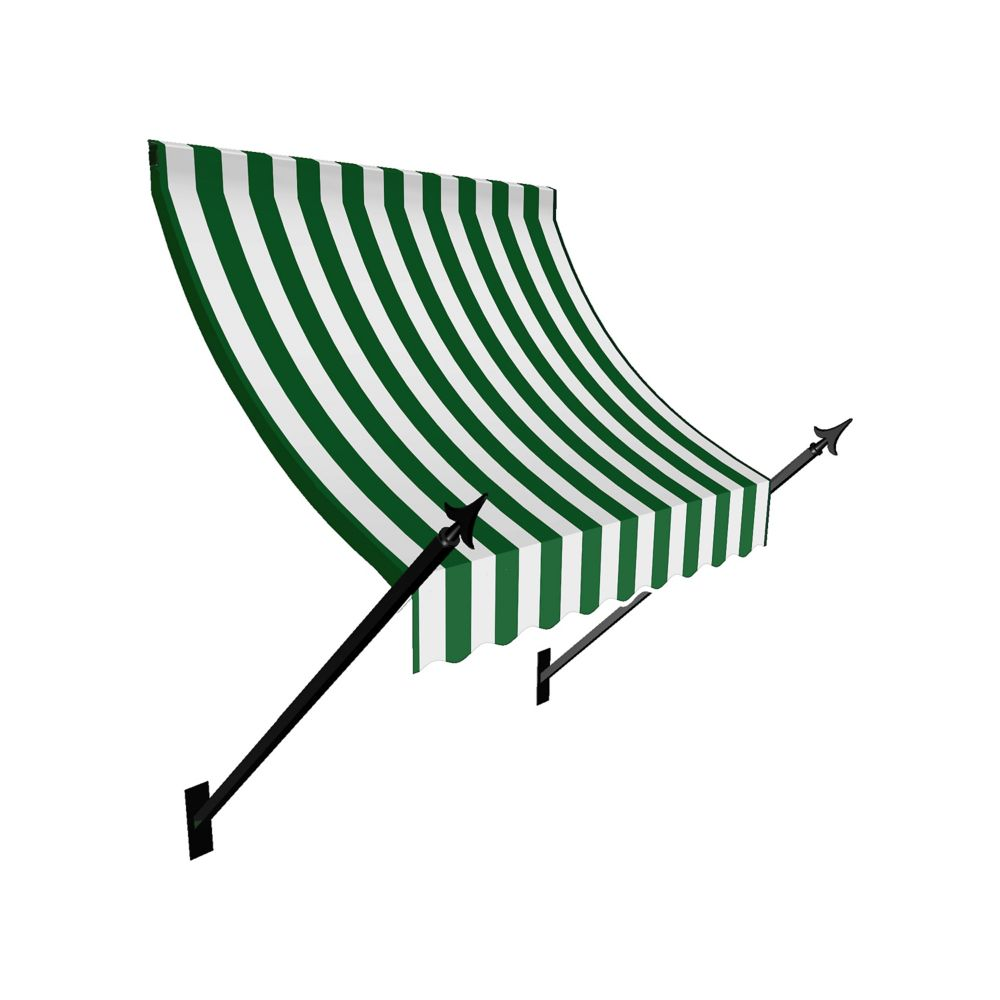 5 Feet New Orleans (44 Inch H X 24 Inch D) Window / Entry Awning Forest / White Stripe