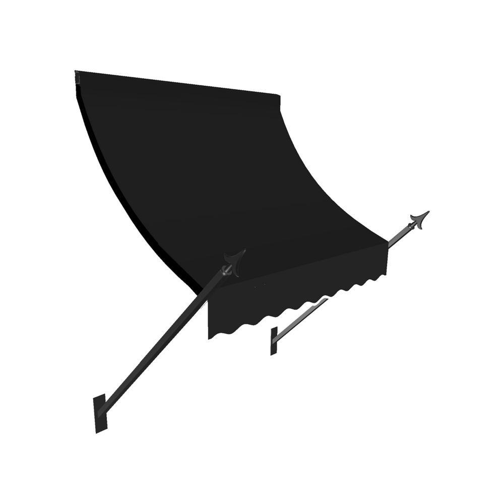 5 Feet New Orleans (44 Inch H X 24 Inch D) Window / Entry Awning Black