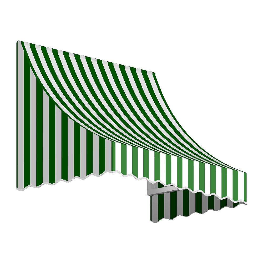 3 Feet Nantucket (31 Inch H X 24 Inch D) Window / Entry Awning Forest / White Stripe