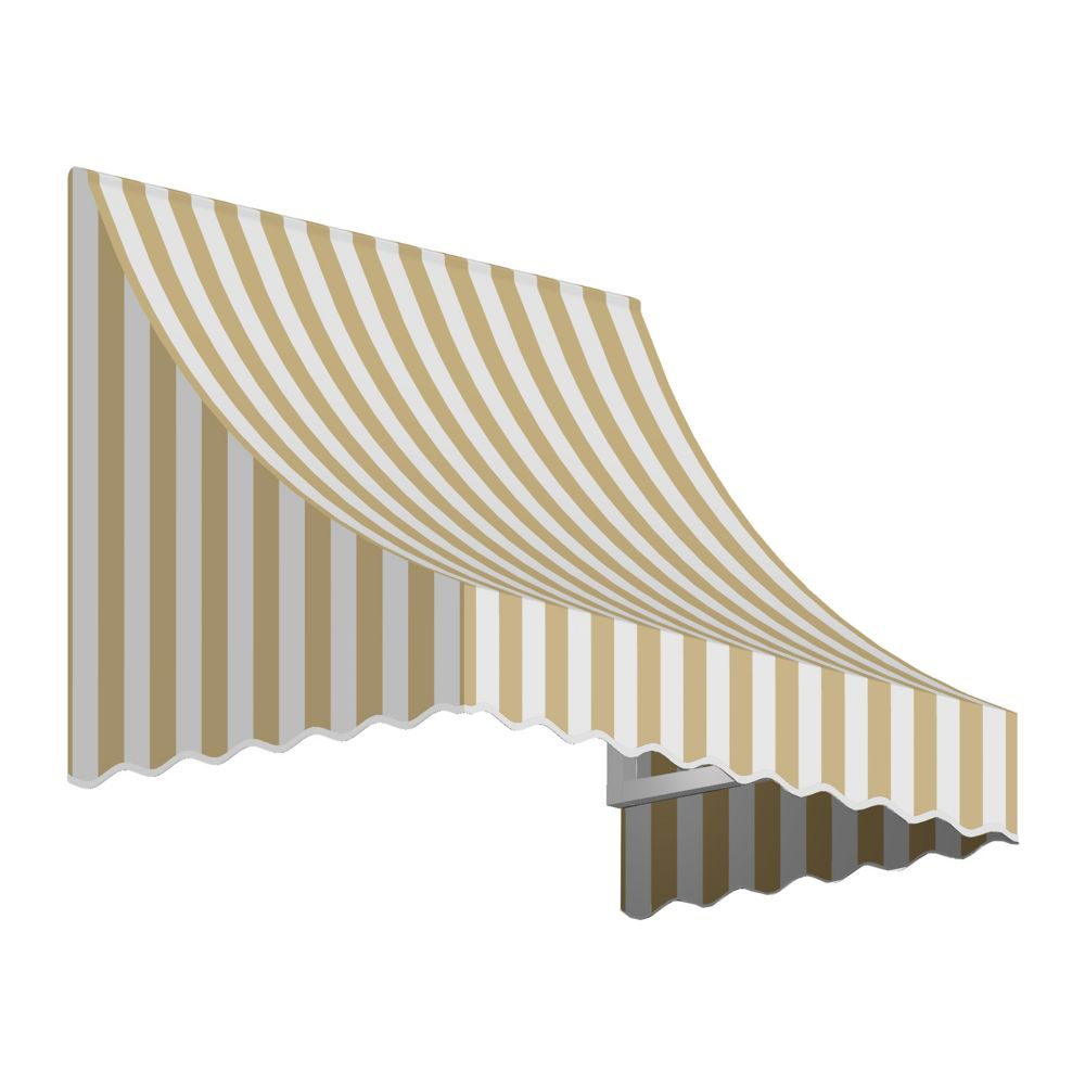 4 Feet Nantucket (31 Inch H X 24 Inch D) Window / Entry Awning Tan / White Stripe