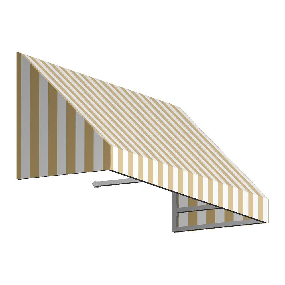 5 Feet Toronto (31 Inch H X 24 Inch D) Window / Entry Awning Tan / White Stripe