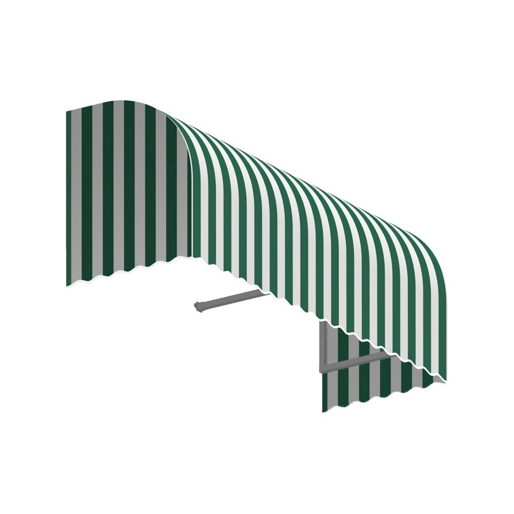 4 Feet Terrebonne (31 Inch H X 24 Inch D) Window / Entry Awning Forest / White Stripe