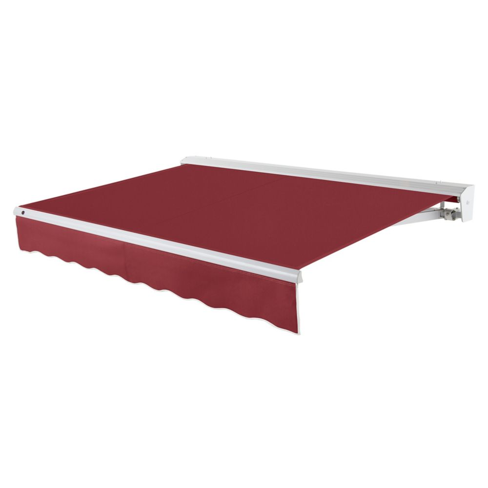 12 Feet DESTIN (10 Feet Projection) Motorized (left side) Retractable Awning with Hood - Burgundy