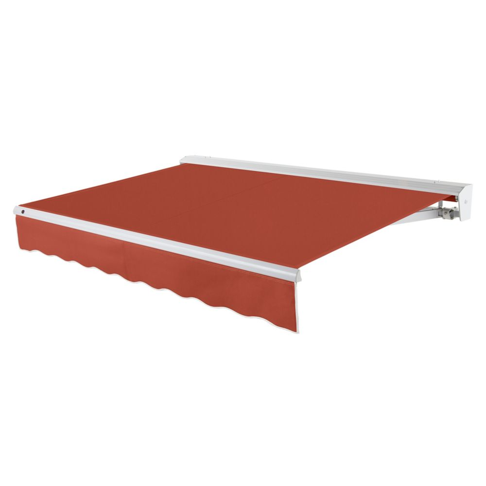 Destin 16 ft. Motorized (Left Side) Retractable Awning with Hood (10 ft. Projection) in Terra Cotta