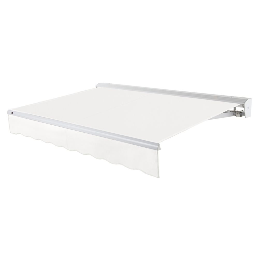 Destin 20 ft. Motorized (Left Side) Retractable Awning with Hood (10 ft. Projection) in Off-White