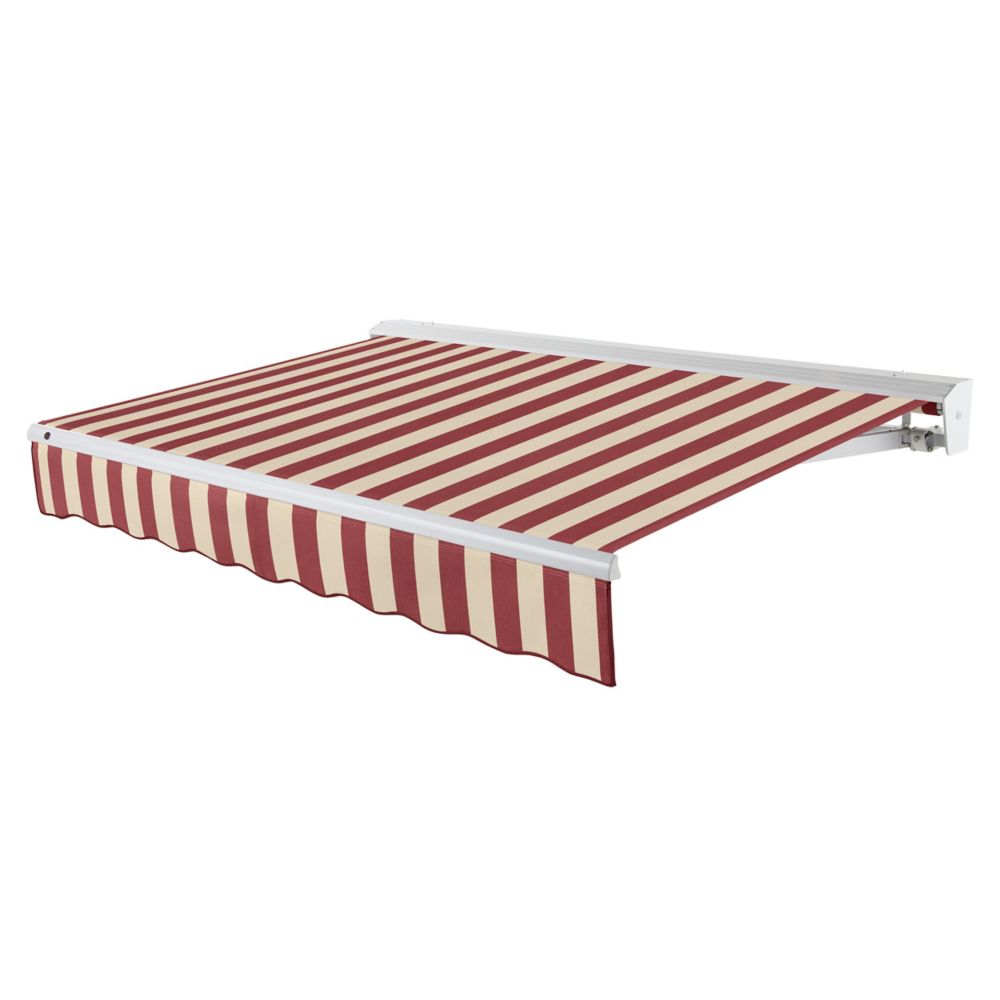 24 Feet DESTIN (10 Feet Projection) Motorized (left side) Retractable Awning with Hood - Burgundy...