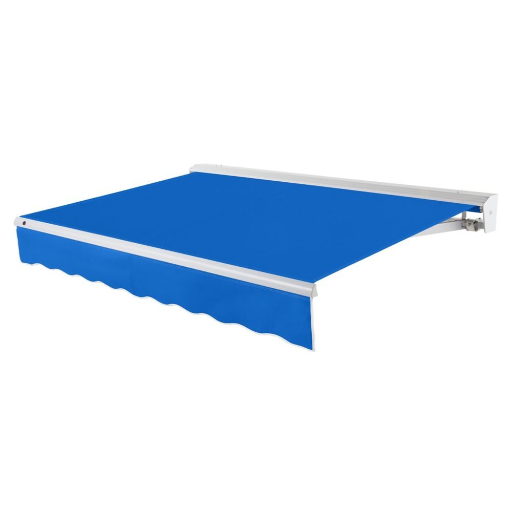 8 Feet DESTIN (7 Feet Projection) Motorized (left side) Retractable Awning with Hood - Bright Blu...