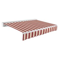 Beauty-Mark Destin 12 ft. Motorized (Right Side) Retractable Awning with Hood (10 ft. Projection) in Burgundy / Tan Stripe