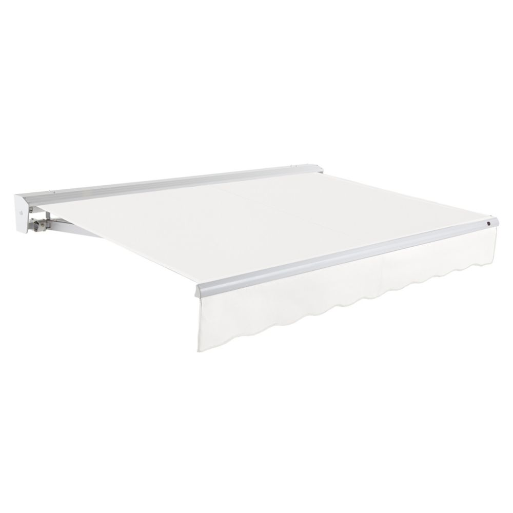 Destin 12 ft. Motorized (Right Side) Retractable Awning with Hood (10 ft. Projection) in Off-White