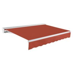 Beauty-Mark Destin 16 ft. Motorized (Right Side) Retractable Awning with Hood (10 ft. Projection) in Terra Cotta
