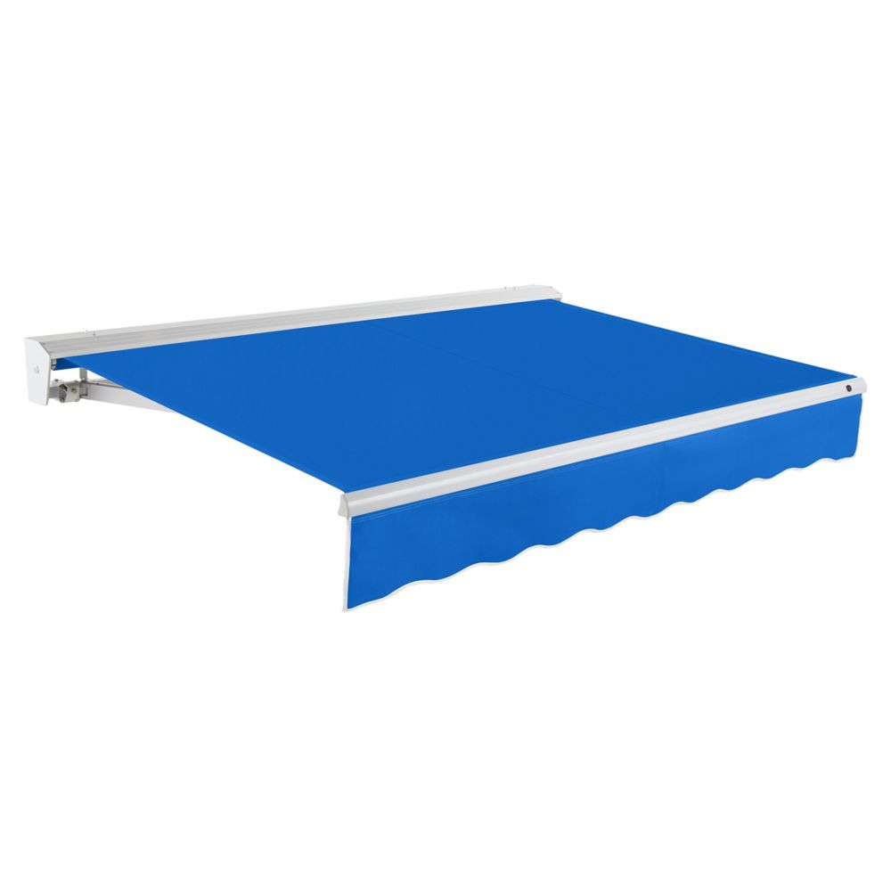 Destin 20 ft. Motorized (Right Side) Retractable Awning with Hood (10 ft. Projection) in Bright Blue