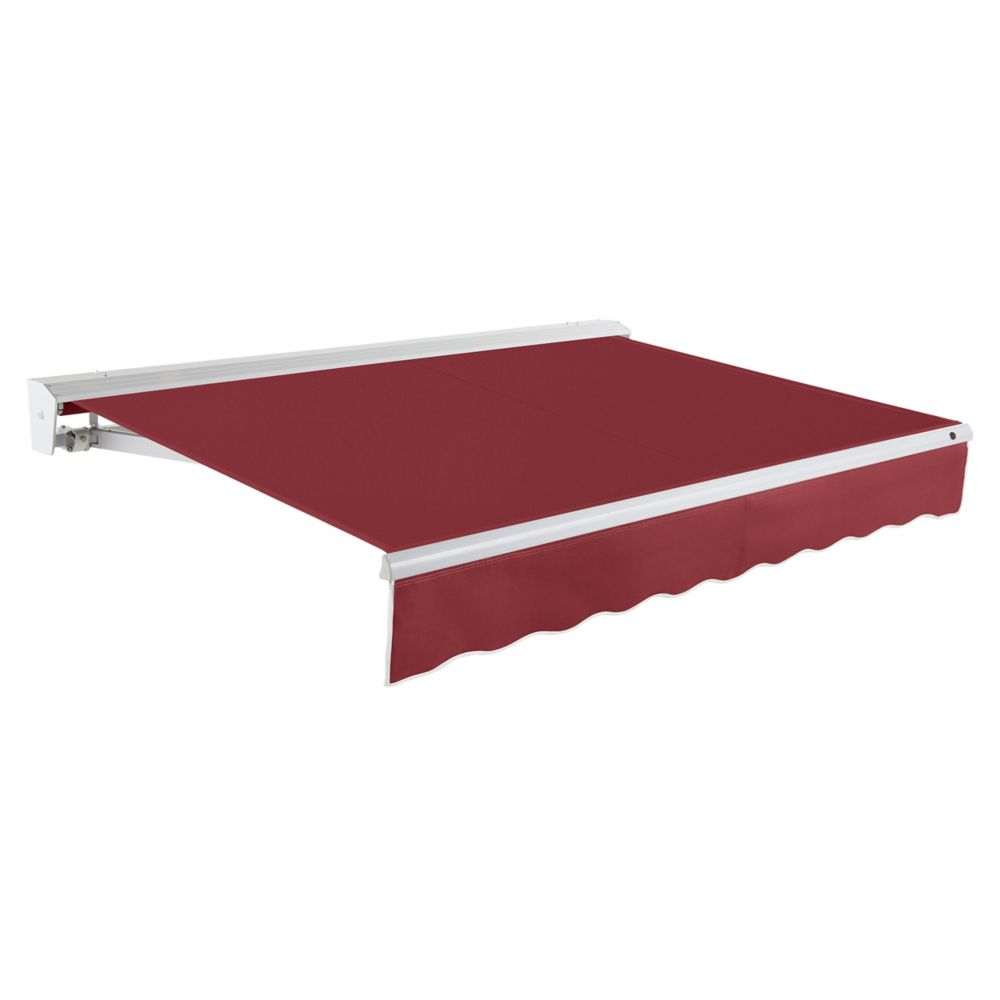 Destin 24 ft. Motorized (Right Side) Retractable Awning with Hood (10 ft. Projection) in Burgundy