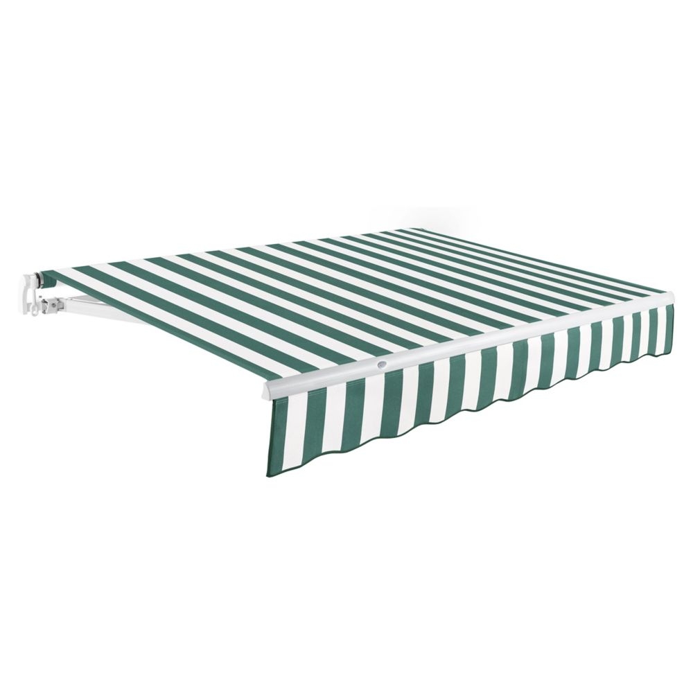12 Feet MAUI (10 Feet Projection) Manual Retractable Awning - Forest / White Stripe