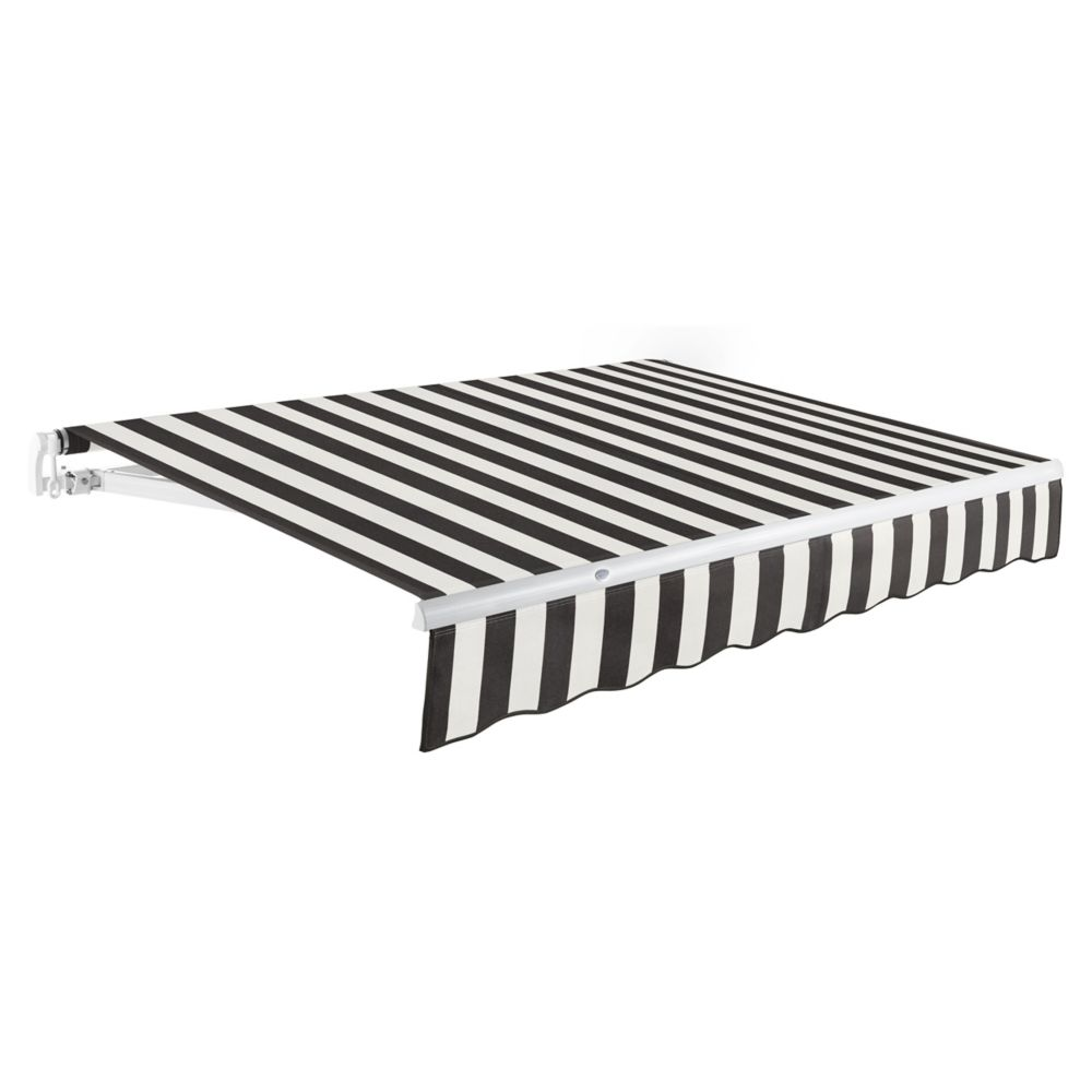 12 Feet MAUI (10 Feet Projection) Manual Retractable Awning - Black / White Stripe