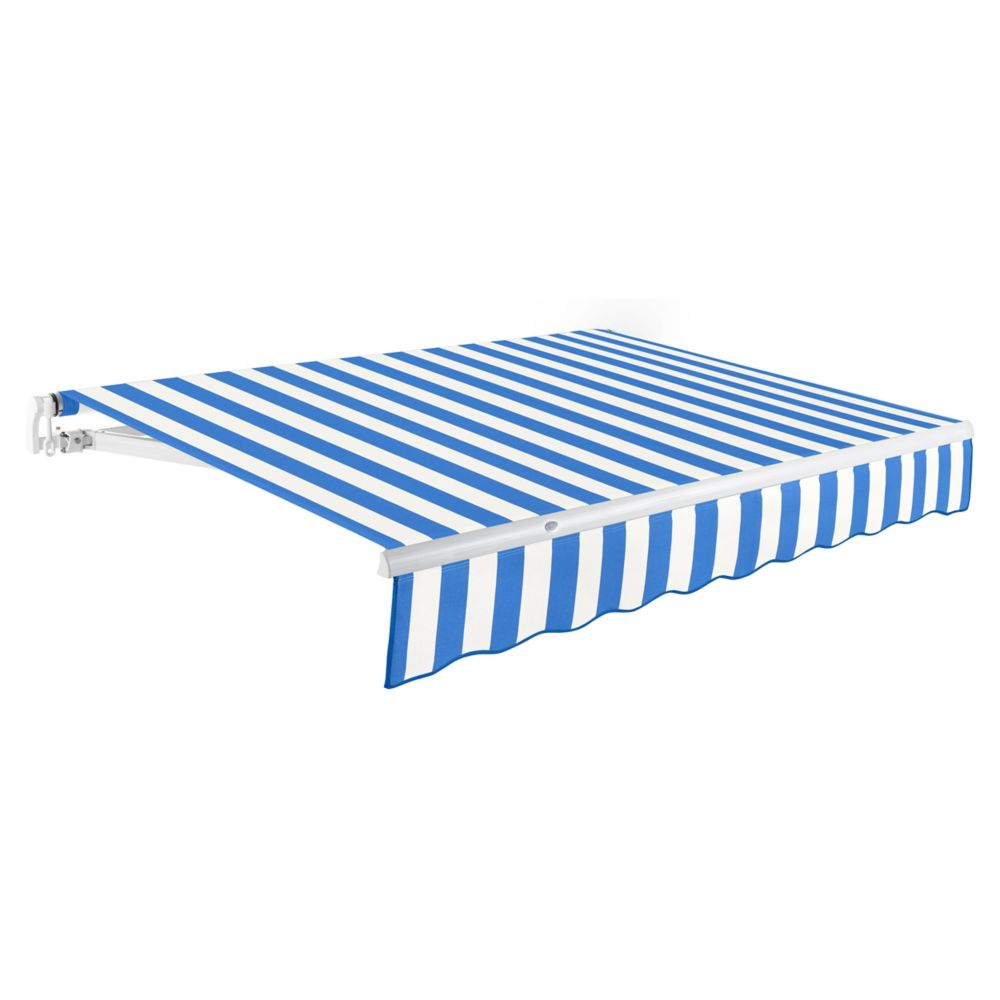 18 Feet MAUI (10 Feet Projection) Manual Retractable Awning - Bright Blue / White Stripe