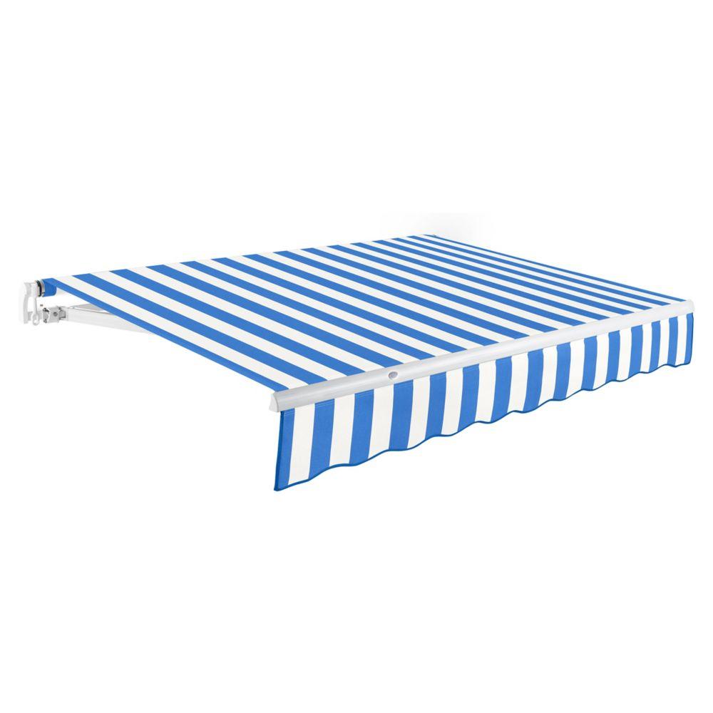 2,44m (8pi) MAUI   Auvent rétractable manuel   (Projection 2,13m [7pi])  - Bleu vif/blanc rai...