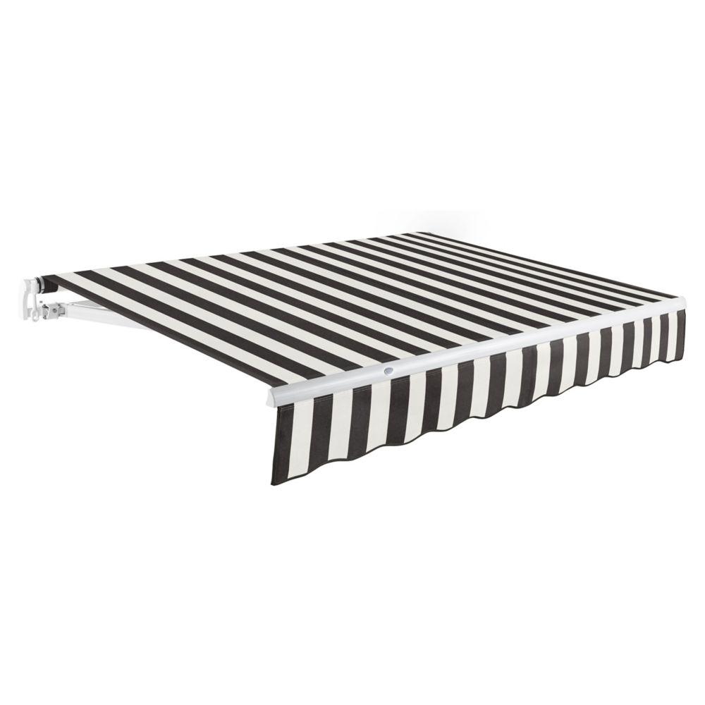 2,44m (8pi) MAUI   Auvent rétractable manuel   (Projection 2,13m [7pi])  - Noir/blanc raies