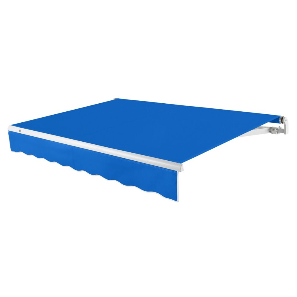 12 Feet MAUI (10 Feet Projection) - Motorized Retractable Awning (Left Side Motor) - Bright Blue