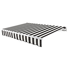 Maui 12 ft. Motorized Retractable Awning (10 ft. Projection) (Left Side Motor) in Black / White Stripe