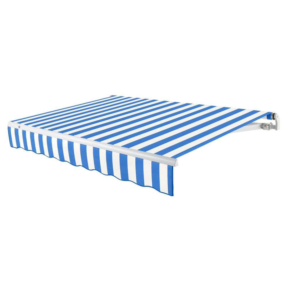 14 Feet MAUI (10 Feet Projection) Manual Retractable Awning - Bright Blue / White Stripe