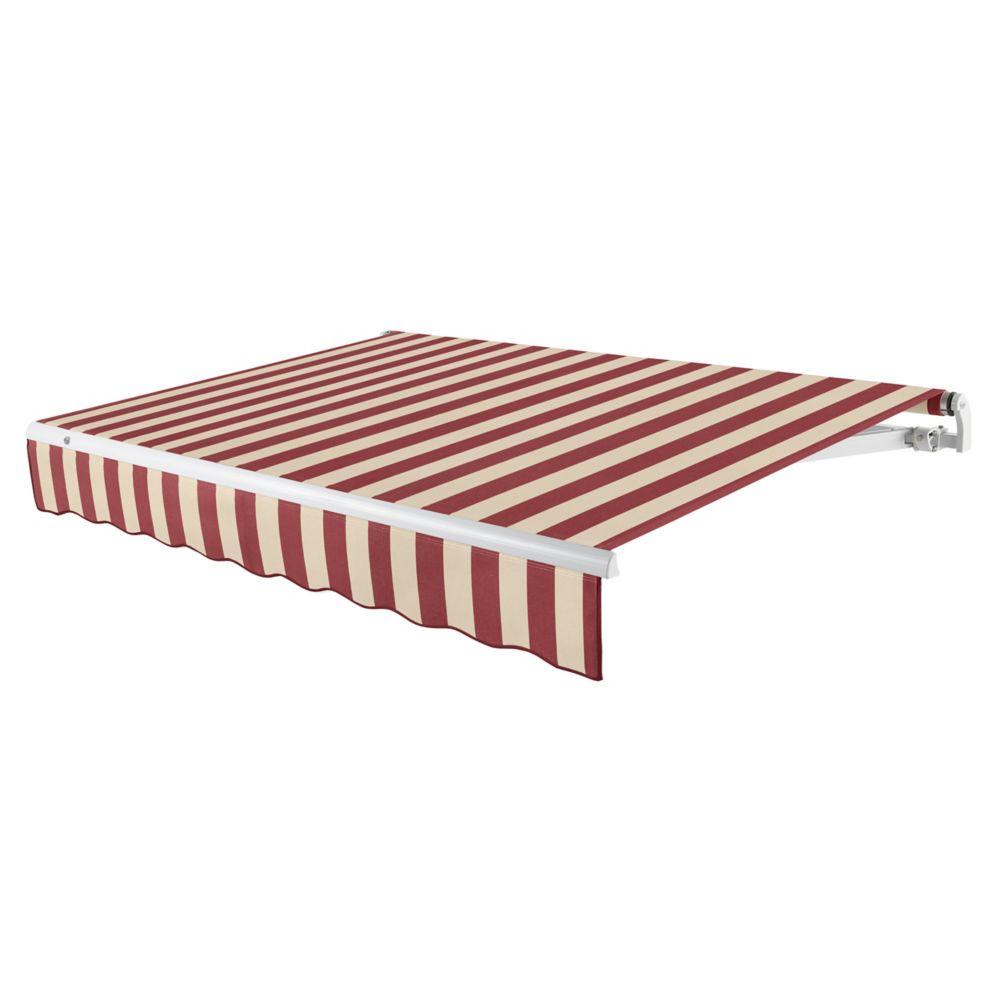 Beauty-Mark  4,27m (14pi) MAUI   Auvent rétractable motorisé   (Projection 3,05m [10pi]) (moteur gauche)   - Bordeaux/tan raies