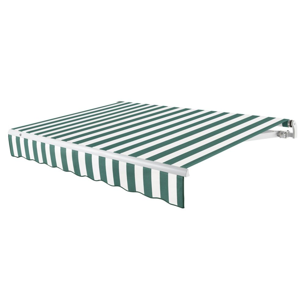 18 Feet MAUI (10 Feet Projection) Manual Retractable Awning - Forest / White Stripe