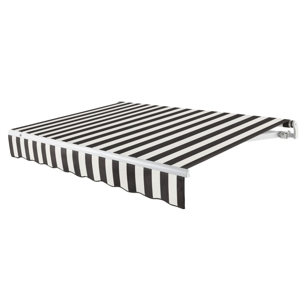 20 Feet MAUI (10 Feet Projection) - Motorized Retractable Awning (Left Side Motor) - Black / White Stripe MTL20-KW Canada Discount