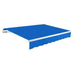 Beauty-Mark Maui 12 ft. Motorized Retractable Awning (10 ft. Projection) (Right Side Motor) in Bright Blue