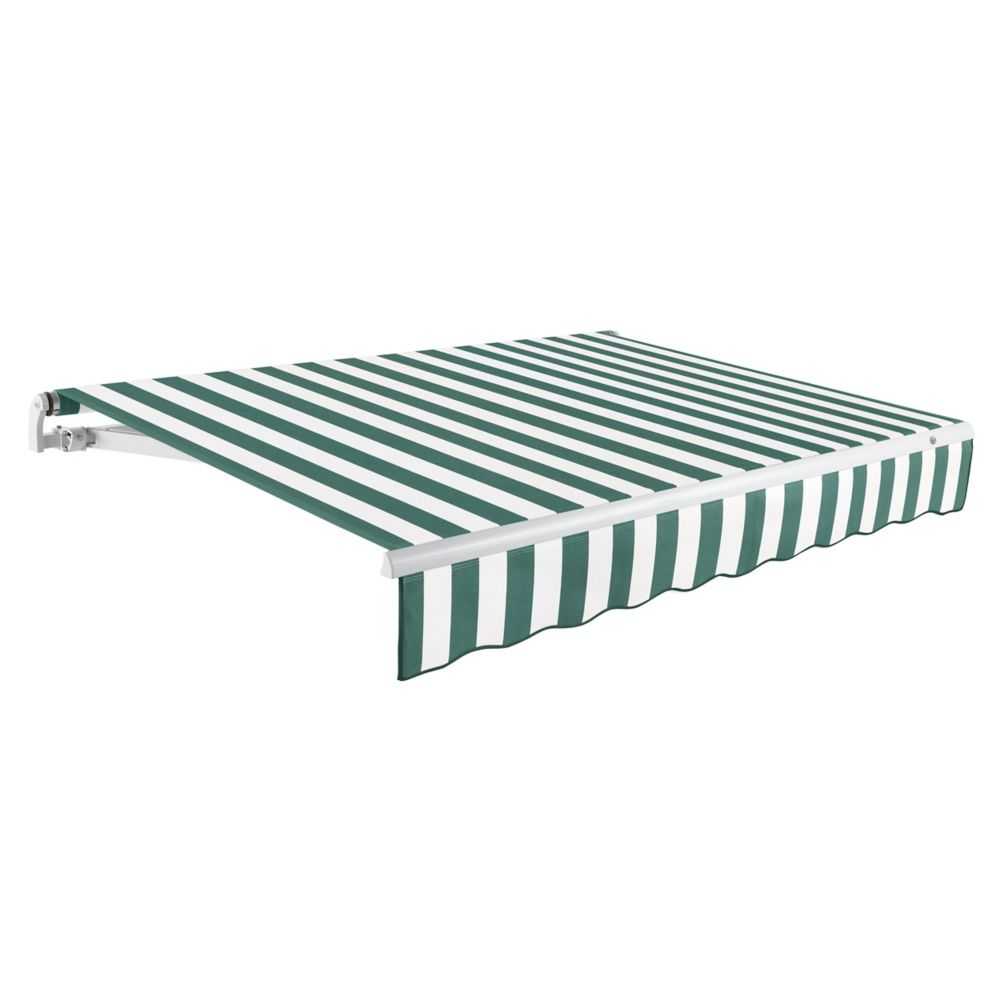 Maui 16 ft. Motorized Retractable Awning (10 ft. Projection) (Right Side Motor) in Forest / White Stripe