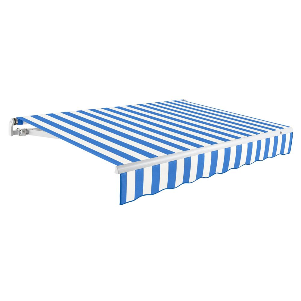 24 Feet MAUI (10 Feet Projection) - Motorized Retractable Awning (Right Side Motor) - Bright Blue...