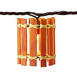 THD Jeu décoratif de 10ampoules transparentes,  cylindre orange de style bambou
