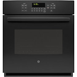 GE 27-inch 4.3 cu. ft. Single Electric Wall Oven with Self-Cleaning Convection in Black