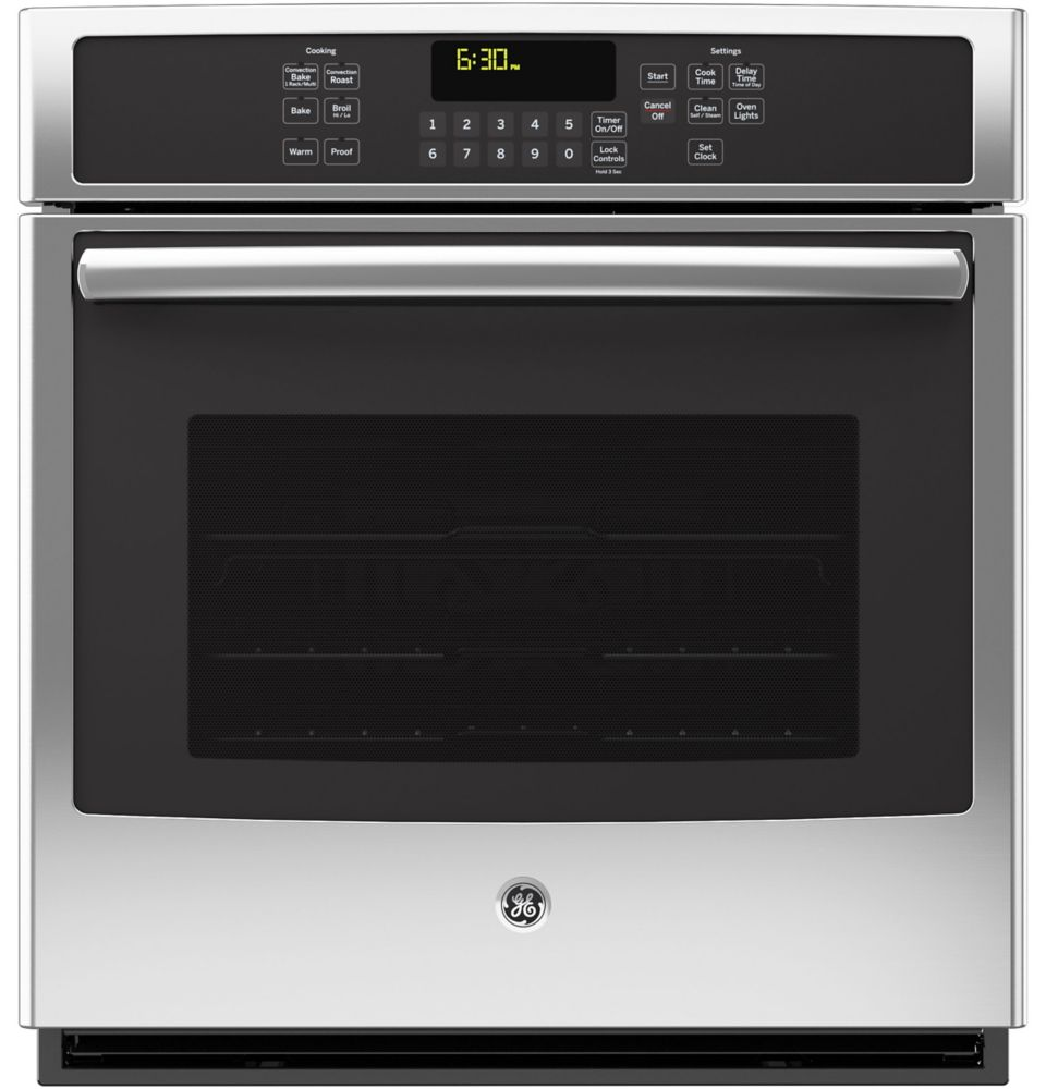 GE 27-inch 4.3 cu. ft. Single Electric Wall Oven with Self-Cleaning Convection in Stainless Steel