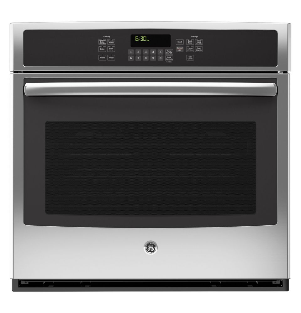 Ge 5 0 cu ft 30 inch electric convection self cleaning single wall oven in stainless steel - Built in microwave home depot ...