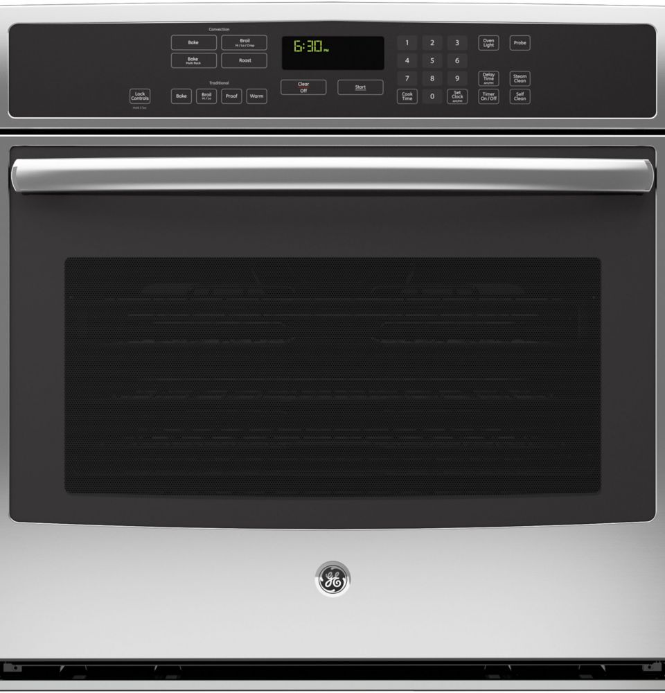 GE Single Electric Wall Oven Self Cleaning with True Convection in Stainless Steel