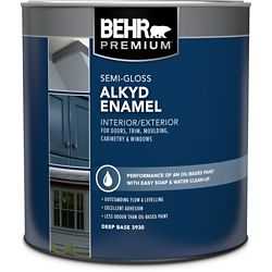 BEHR Interior/Exterior Alkyd Semi-Gloss Enamel Paint - Deep Base, 858 ml
