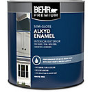 Behr Behr Interior Exterior Alkyd Semi Gloss Enamel Paint White Base 946 Ml The Home Depot
