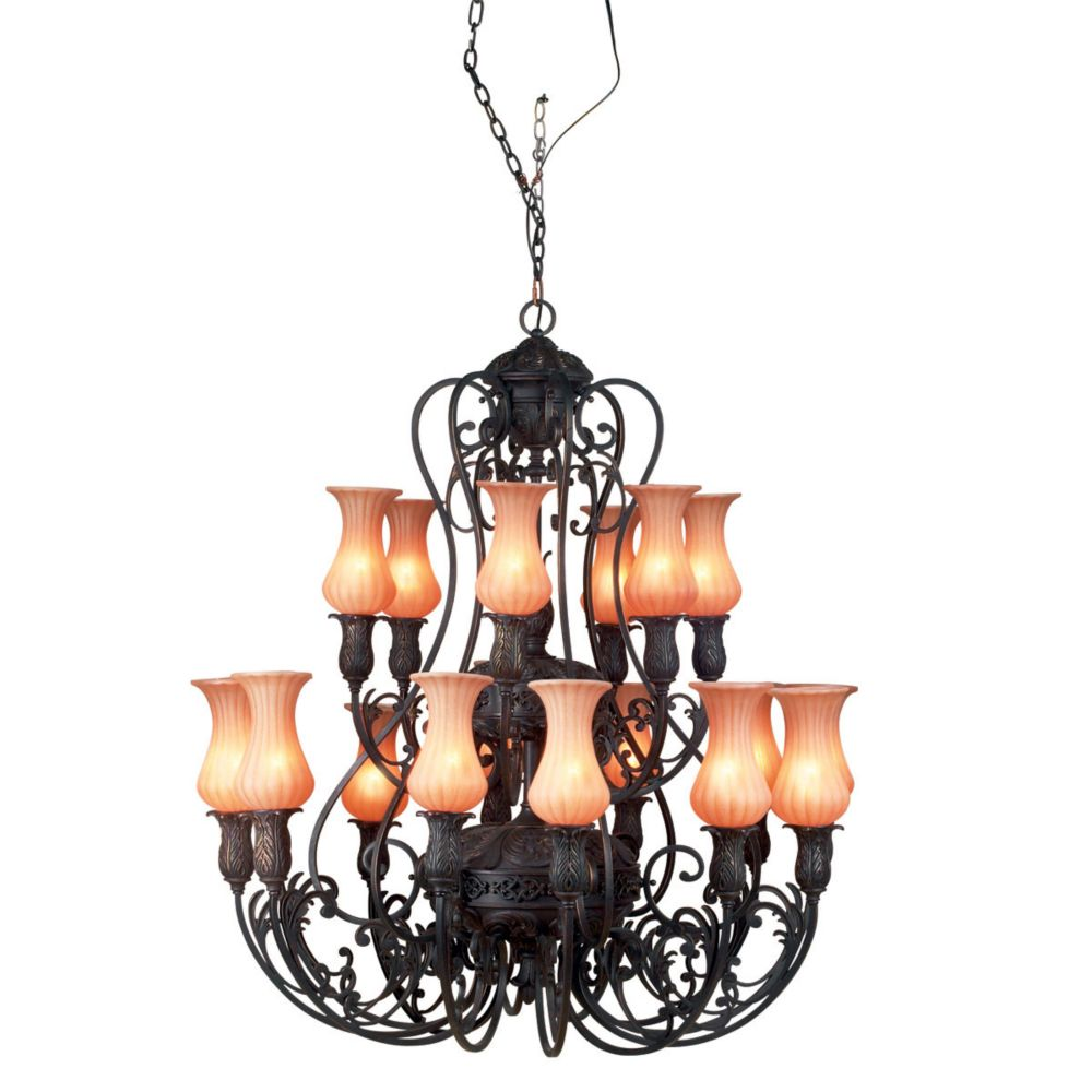 eurofase richtree collection 18 light aged bronze chandelier the home depot canada. Black Bedroom Furniture Sets. Home Design Ideas