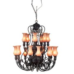 Eurofase Richtree Collection 18-Light Aged Bronze Chandelier