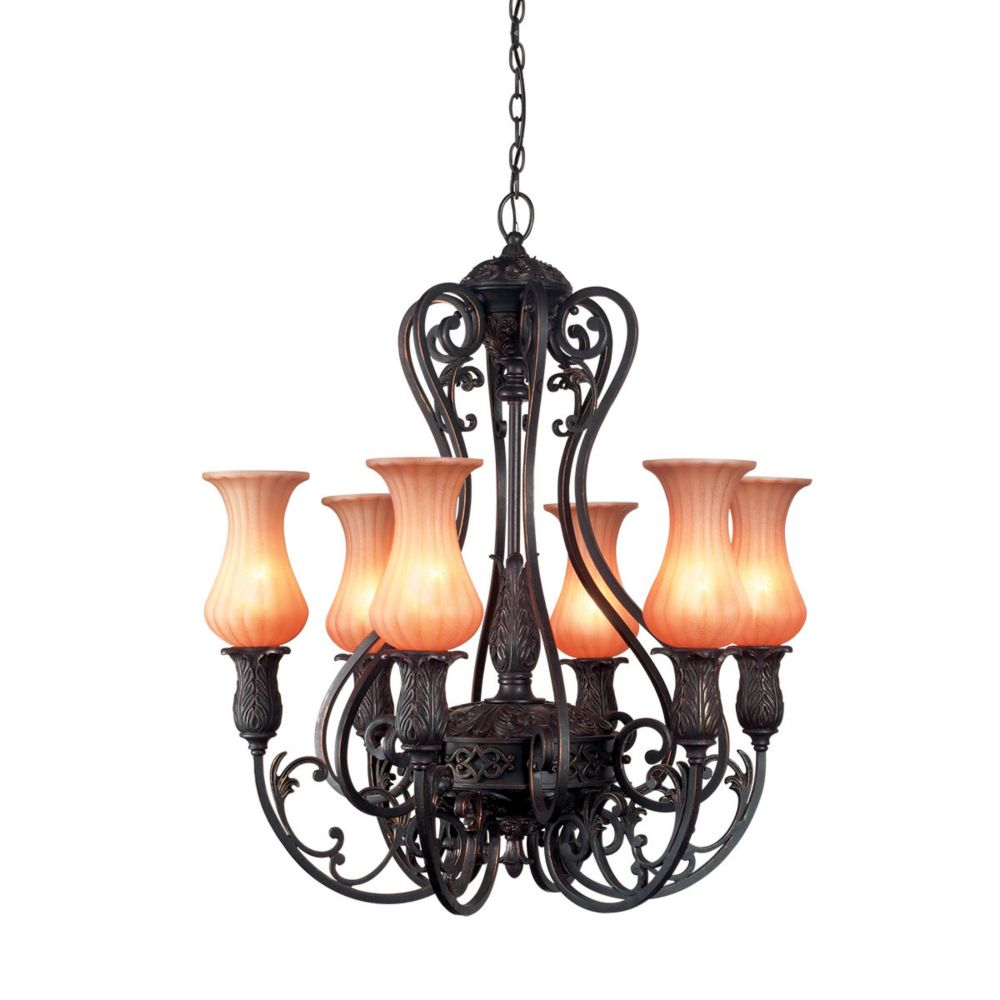 Eurofase Richtree Collection 6-Light Aged Bronze Chandelier