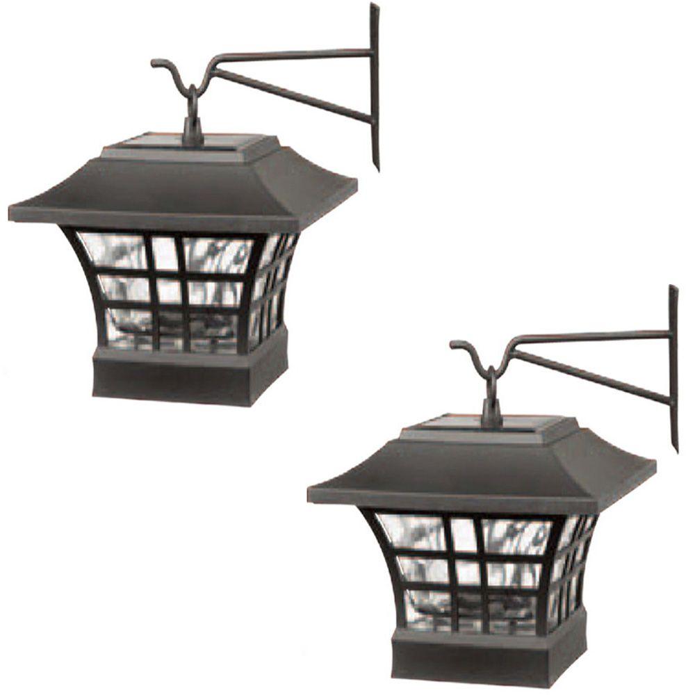 Paquet de deux luminaires solaires pour poteaux de terrasse