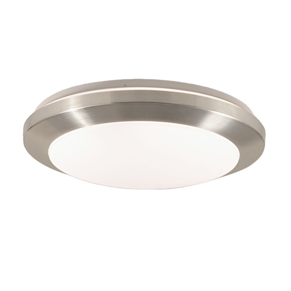 Lucid Collection 1-Light Satin Nickel Flush Mount